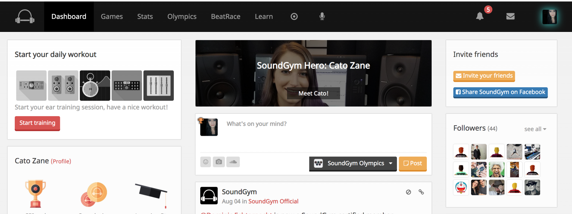 Sound Gym Main Page